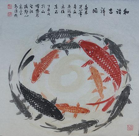 甚觉好看,但余后几十年画画忙于山水,骏马画等未曾涉及鱼画,今有三弟