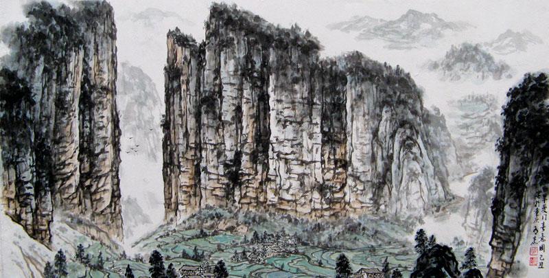 重庆风景水墨画